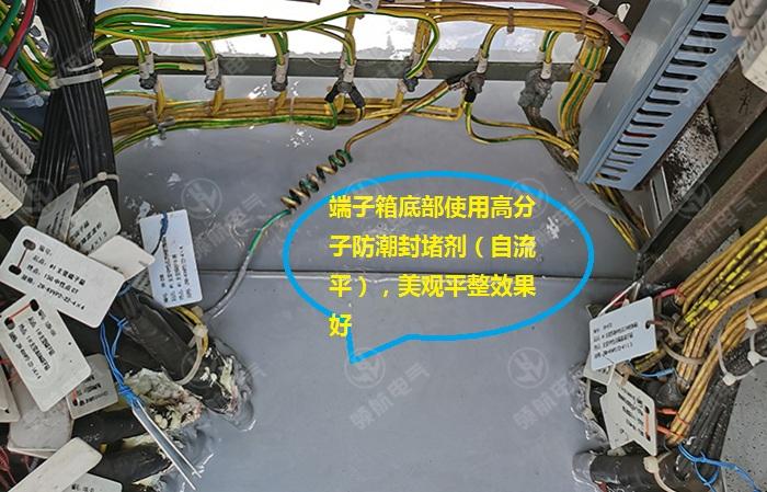 端子箱底部使用自流平防潮封堵剂,进行封堵