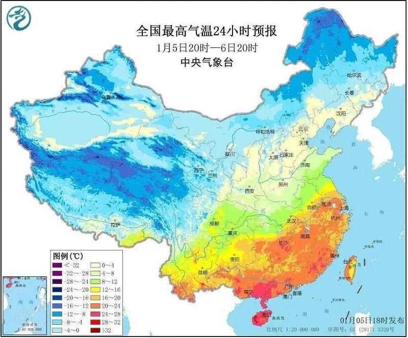 2020年1月5日,南方各地依然是普遍高温的状态