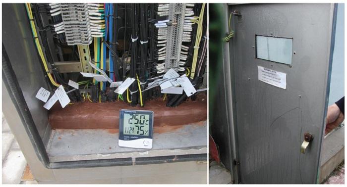 如图所示,端子箱内的湿度已高达75RH