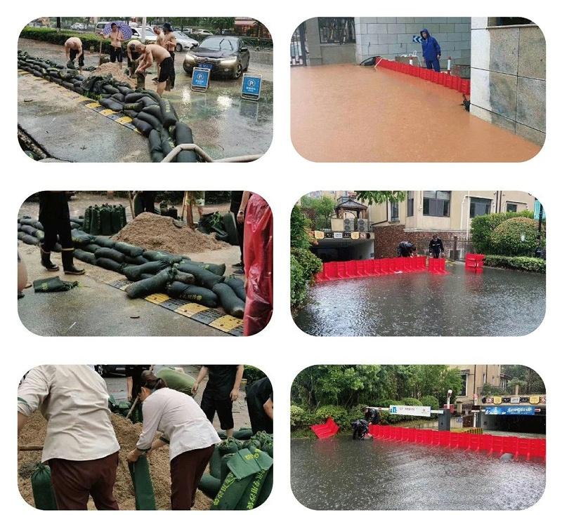 传统沙袋与防洪挡板效果对比