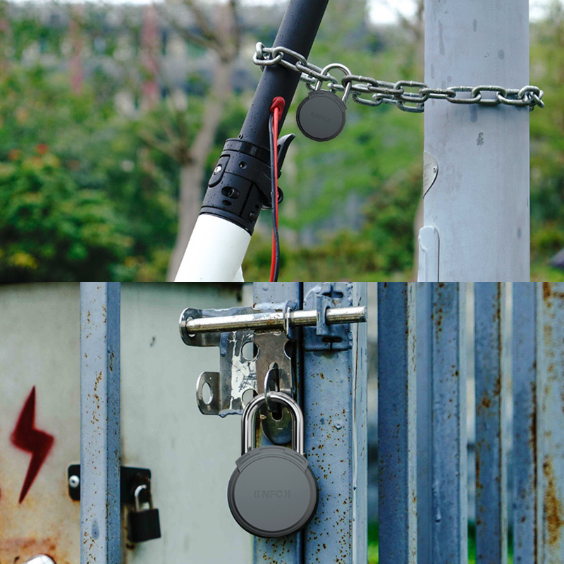 悬挂在工业厂区门口的NFC无源锁