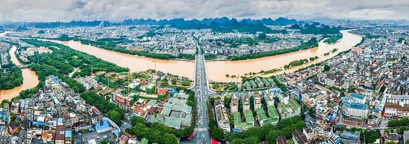 桂林市区洪灾航拍实景