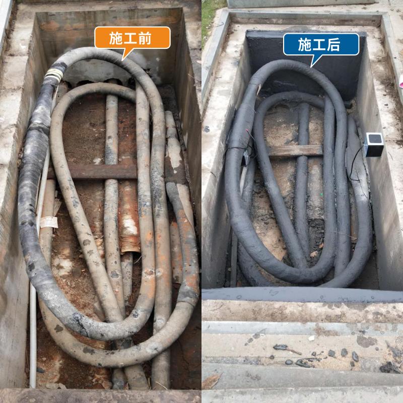 涂刷电缆防火涂料前后对比图