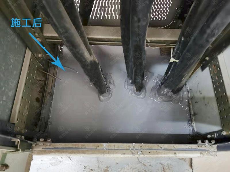 设备进行防潮封堵操作之后,原有的缝隙得到了填补